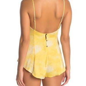 Free People Luella Tie Dye Yellow Body Suit XS